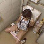 【オナニーレズ動画】夏休みのロリJCが塾のトイレでオシッコのついでに自慰行為する瞬間を盗撮
