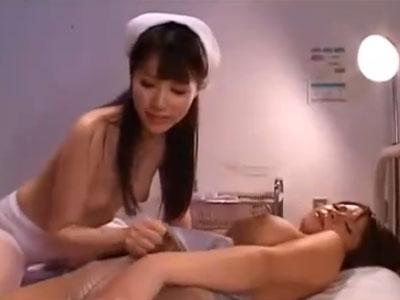 【ナースレズ動画】患者の性処理も看護婦の仕事!ビアンの巨乳娘を手マンで気持ち良くさせる