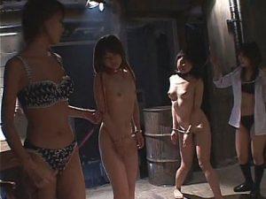 【SMレズ動画】幼いロリJCの少女たちが地下室に監禁されレズビアン女教師達に調教レイプで犯される