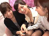 【レズ動画】初めてのシロウト白百合!トリプル・レズ接吻性交がエロ~い!!!